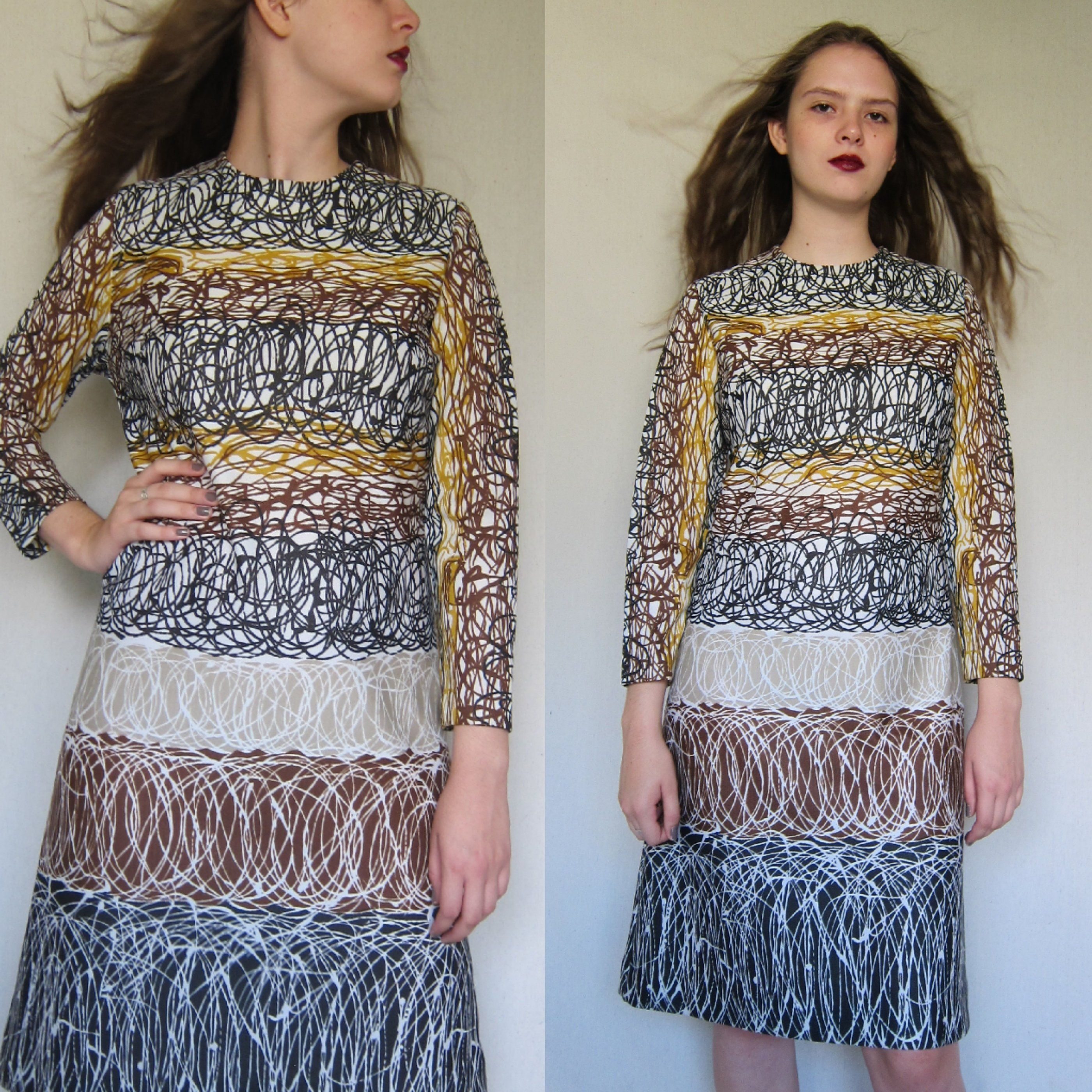 S dress s printed long sleeved dress squiggle spiral doodle