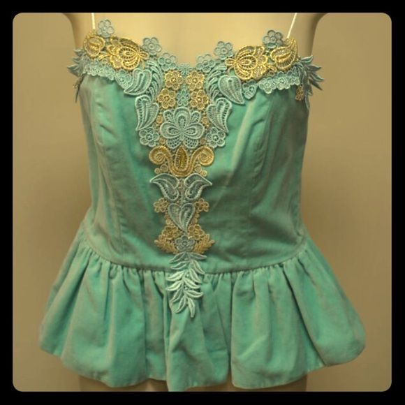 Manoush Teal Velvet Tanktop Manoush Teal Velvet Peplum Tanktop with Spaghetti Straps and Gorgeous Lace Detailing. Make me an offer!  Want discounted shipping? Just ask!  Happy to reduce the price 10% to help you save more! Manoush Tops Tank Tops