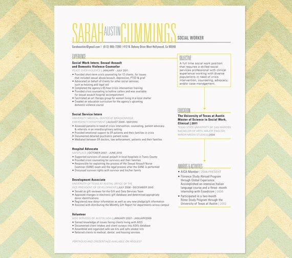 Resume Sample The Austin Etsy, Resume cover letters and Resume - social work resume cover letter
