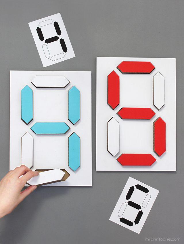 Digital number puzzle / cardboard diy templates