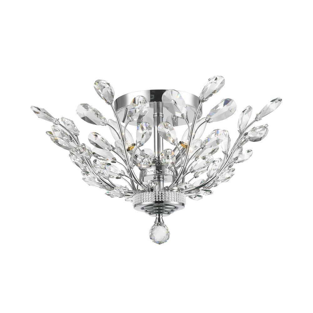 Worldwide Lighting Aspen 4-Light Chrome Crystal Ceiling Semi-Flush ...