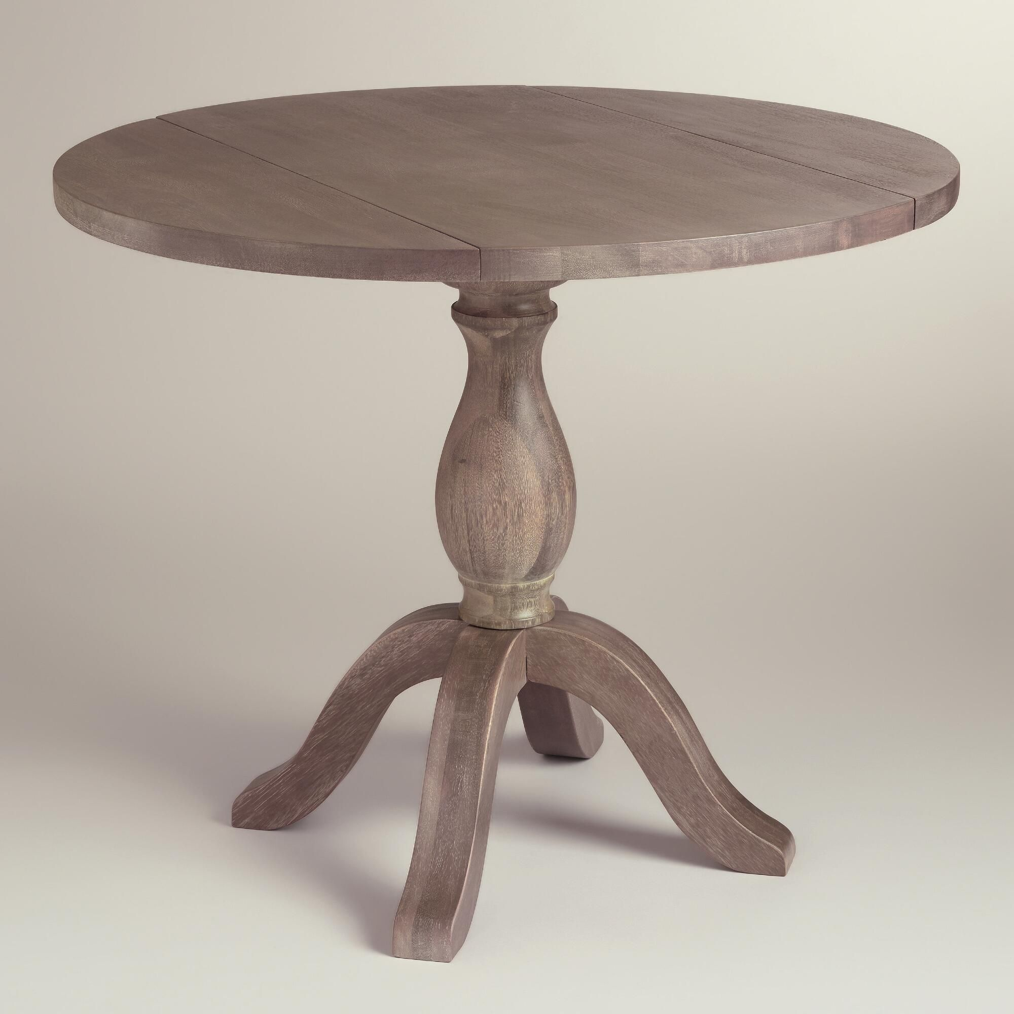Round weathered gray wood jozy drop leaf table french for Small dining table with leaf