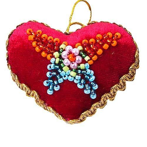 $5.00 Heart - St Elisabeth Convent - #heart #decor #gift #handmade #handcrafted #crafts #forsale #order #worldwide #deliver #purchase #velvet #beads