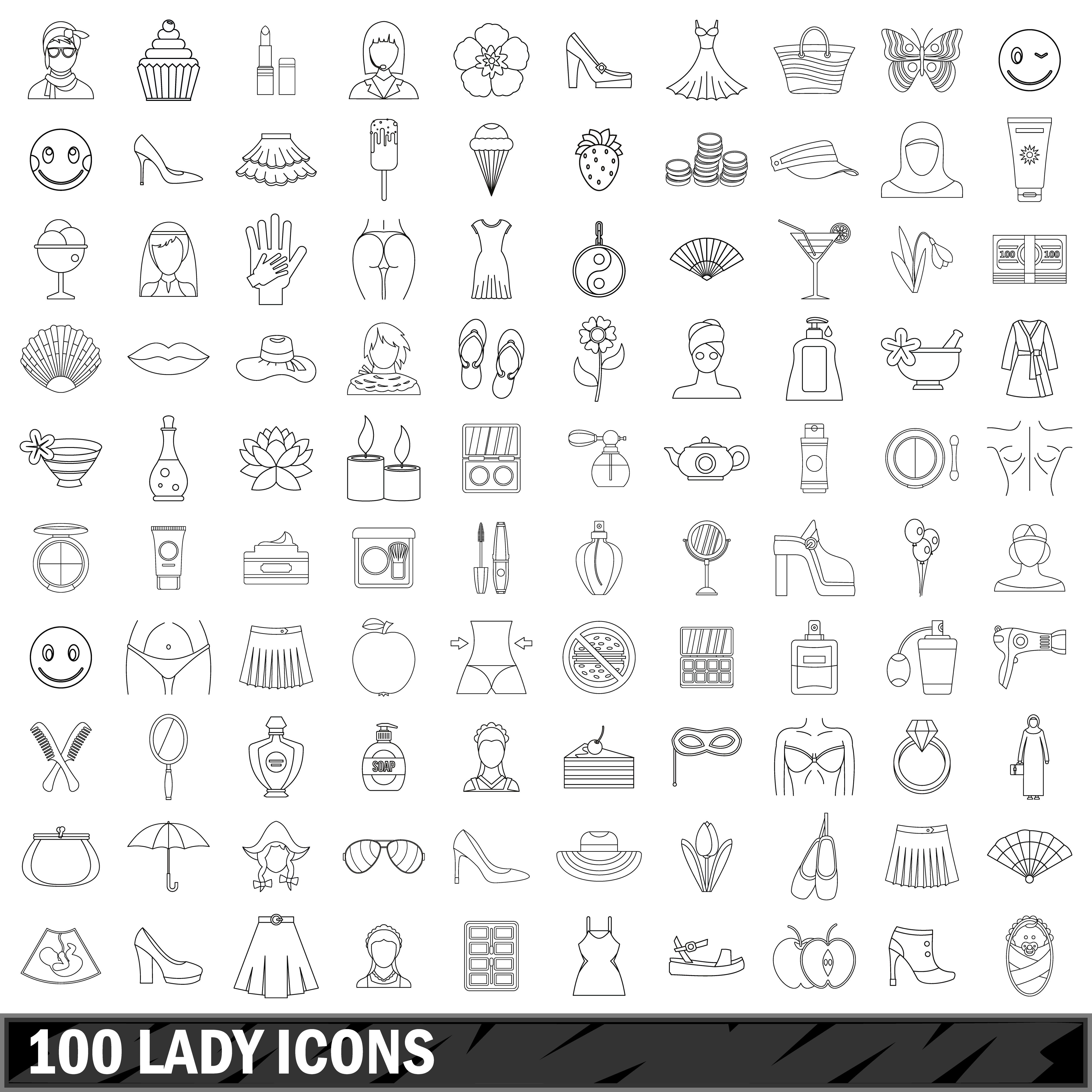 100 lady icons set, outline style By Ylivdesign