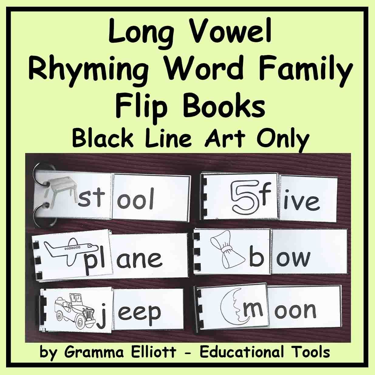 Long Vowel Rhyming Word Family Flip Books Cvce And Vowel