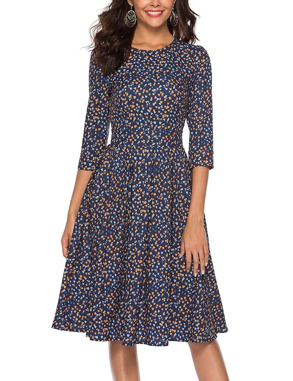 Simple Flavor Women S Floral Evening Flare Vintage Midi Dress 3 4 Sleeve At Amazon Women S Clothing Store Vintage Midi Dresses Dresses Simple Dresses [ 1500 x 1154 Pixel ]