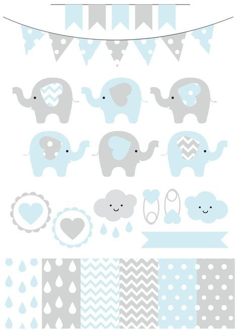 Premium baby shower vector clipart – Baby elephants – blue and grey baby shower – clip art and digital paper set – baby elephant clipart