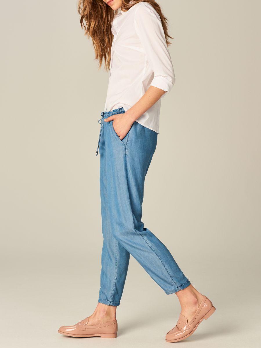 Luzne Spodnie Ze Sciagaczem Niebieski Sm968 50j Mohito 1 Trousers Women Loose Trousers Trousers