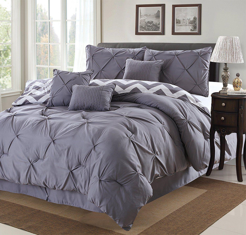Amazon Com 7 Piece Modern Pinch Pleated Comforter Set Queen Grey Bedding Bath Queen Comforter Sets Comforter Sets Luxury Comforter Sets