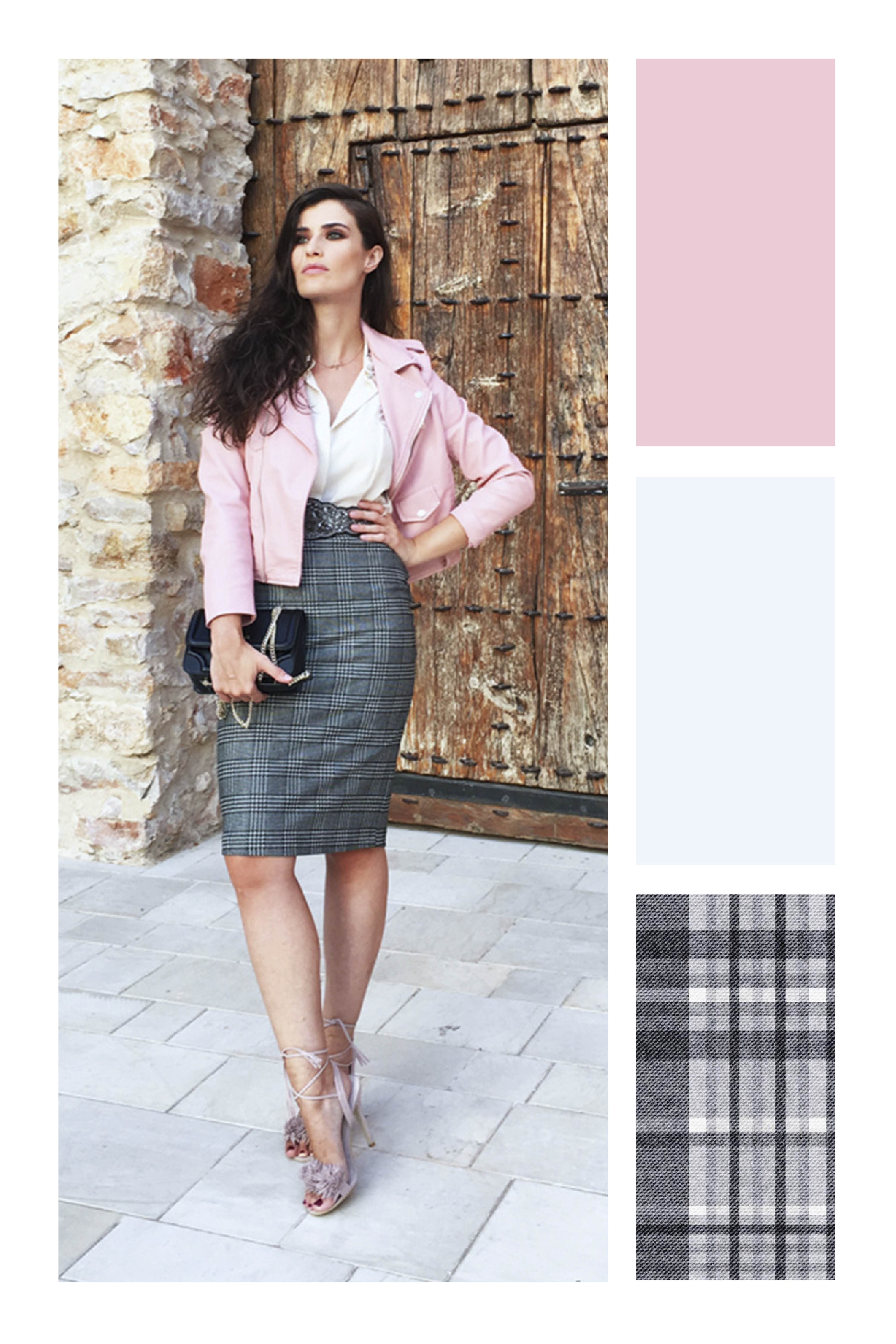 Falda lápiz  cinco estilos para organizar tus atuendos diarios  TiZKKAmoda   blazer  rosa  falda  lápiz  gris  cuadros  look  blusa  blanca 6cb0127bdff8
