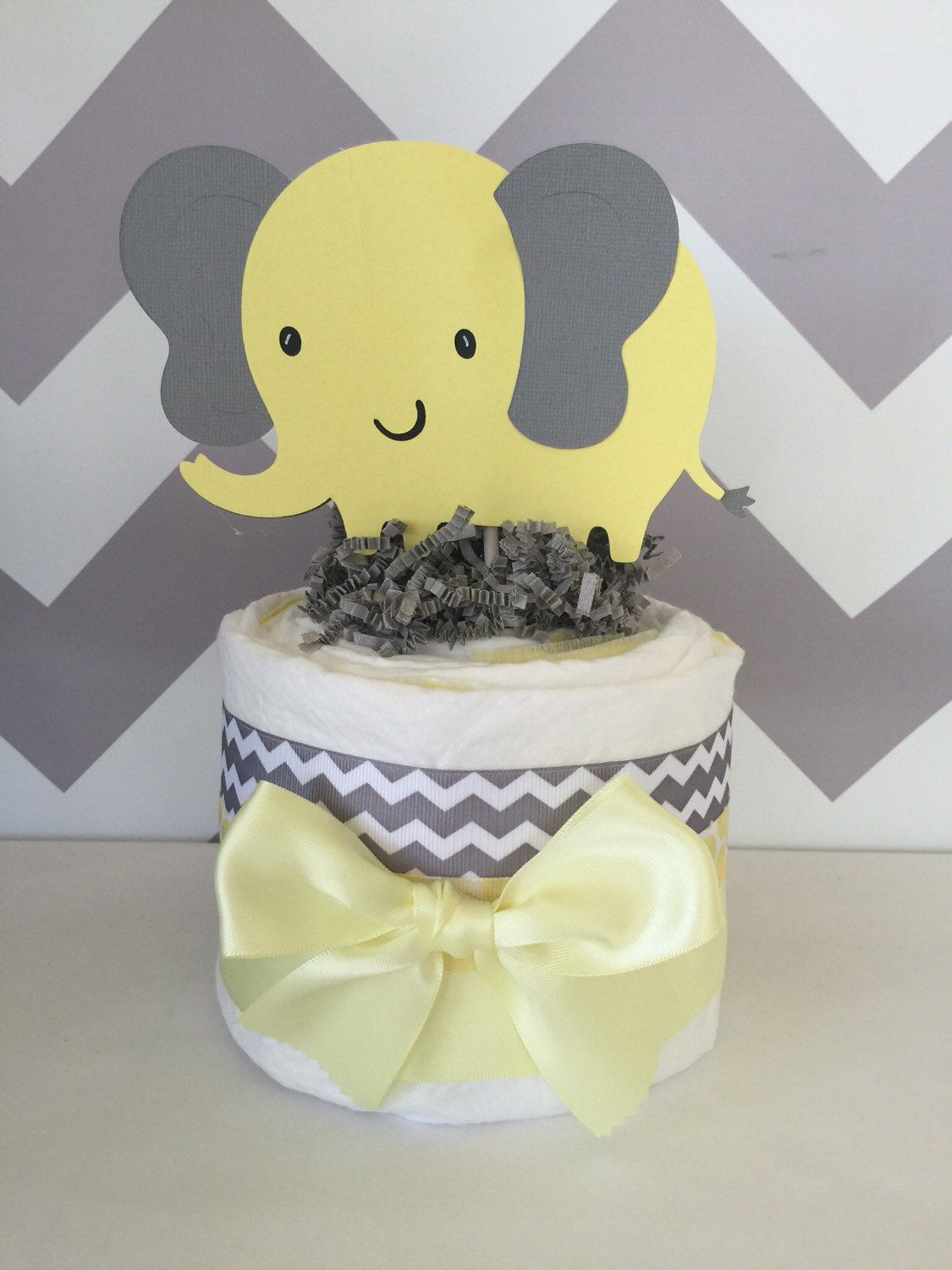 Delightful Mini Elephant Theme Baby Shower Diaper Cake In Gray And Yellow, Chevron Gray  And Yellow