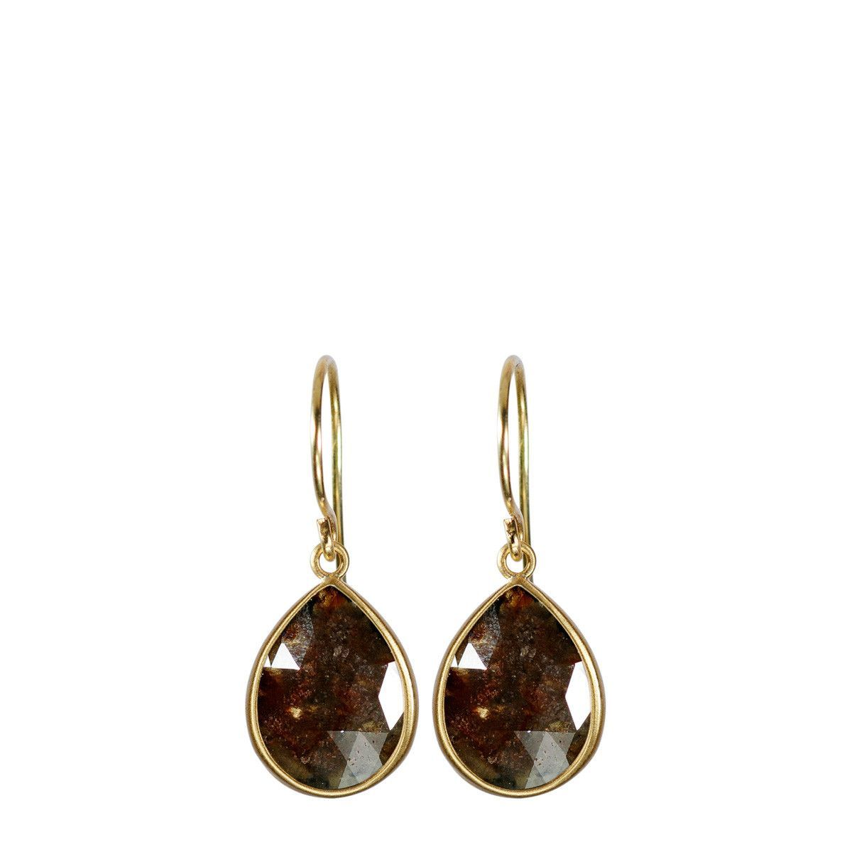 18K Gold Sandy Red Opaque Diamond Teardrop Earrings