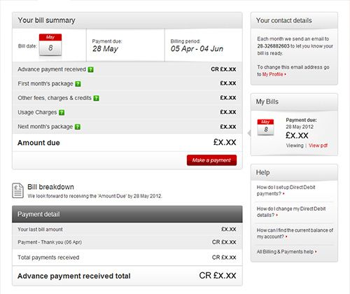 ONLINE BILL Virgin Media Pinterest - advance payment receipt