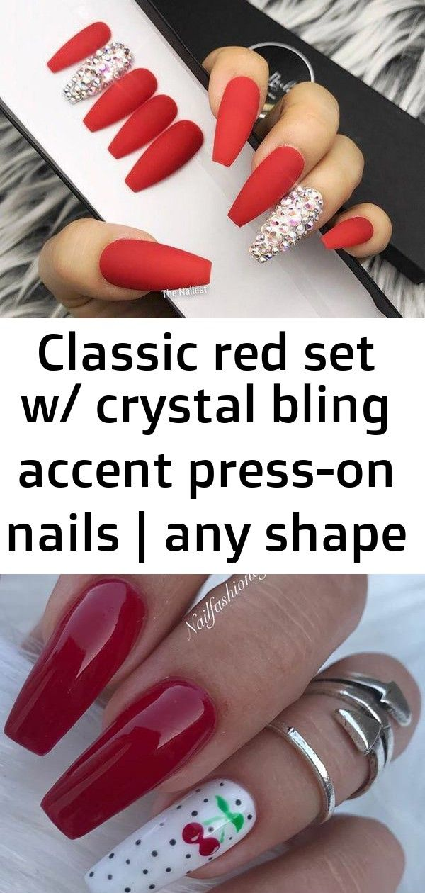 Classic red set w/ crystal bling accent press-on nails | any shape | fake nails | false nails | gl 4