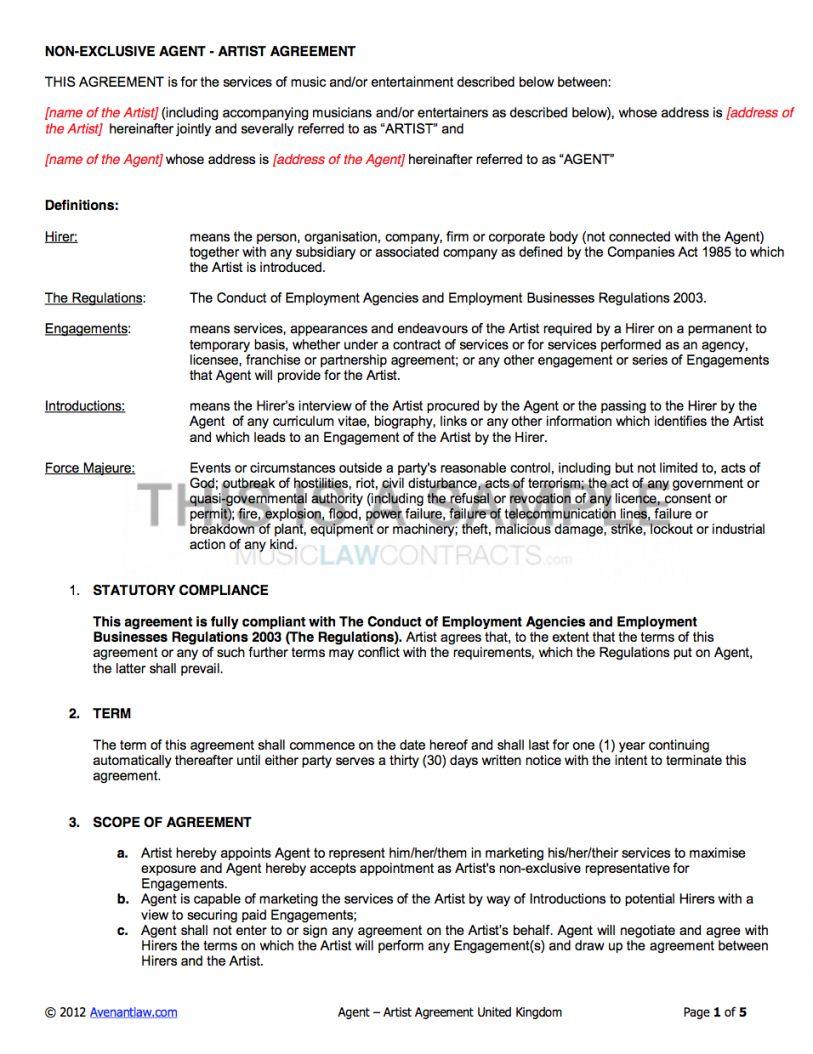 Best Art Commission Contract Template Pdf Example In 2021 Contract Template Math Lesson Plans Template Artist Management Artist management contract template pdf