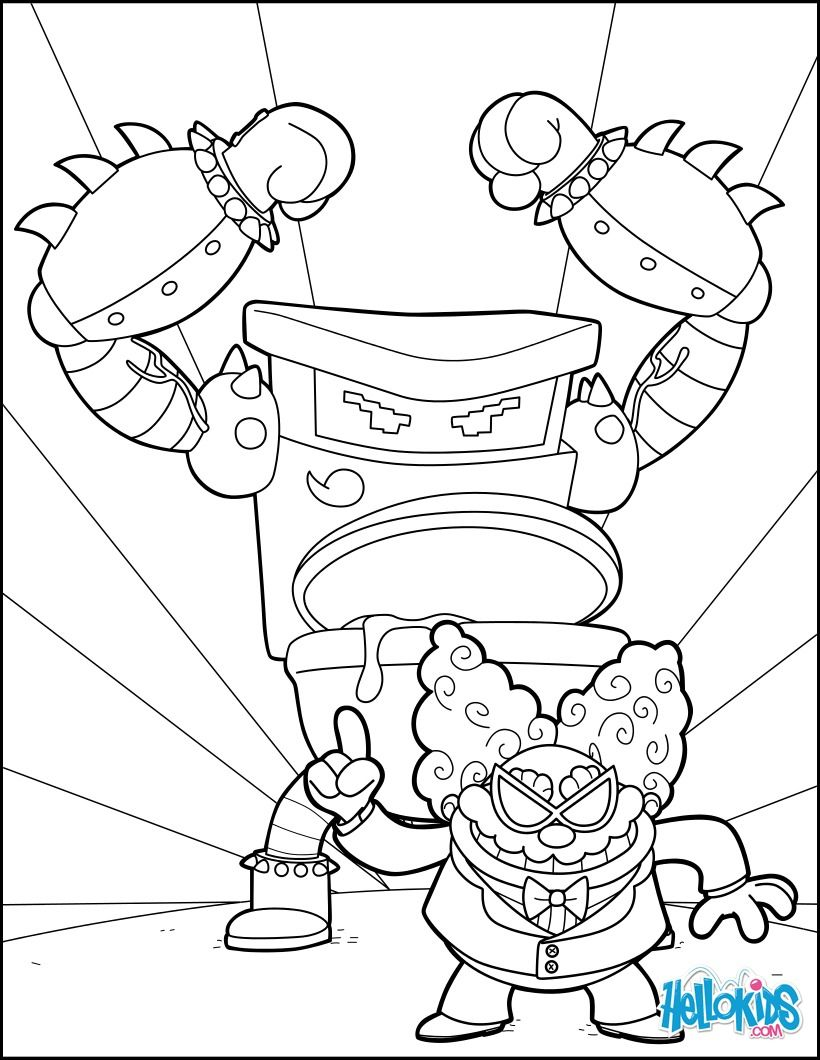 Color Online Captain Underpants Coloring Pages Monster