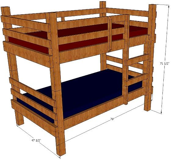 Bunk Bed Plans Twin Children Adults Rustic Bunk Bed