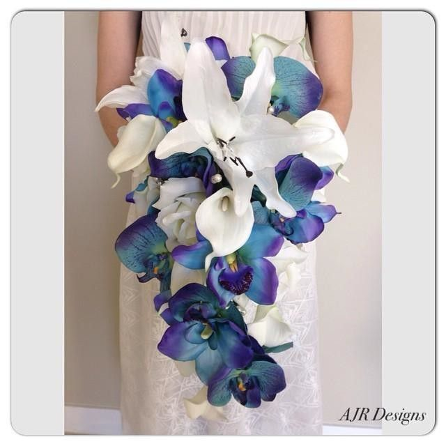 Phalaenopsis silk orchid spray in blue afloral same day blue silk flowers available in navy dusty blues and sapphire for creating diys bouquets and arrangements shop silk wedding flowers by color at afloral mightylinksfo