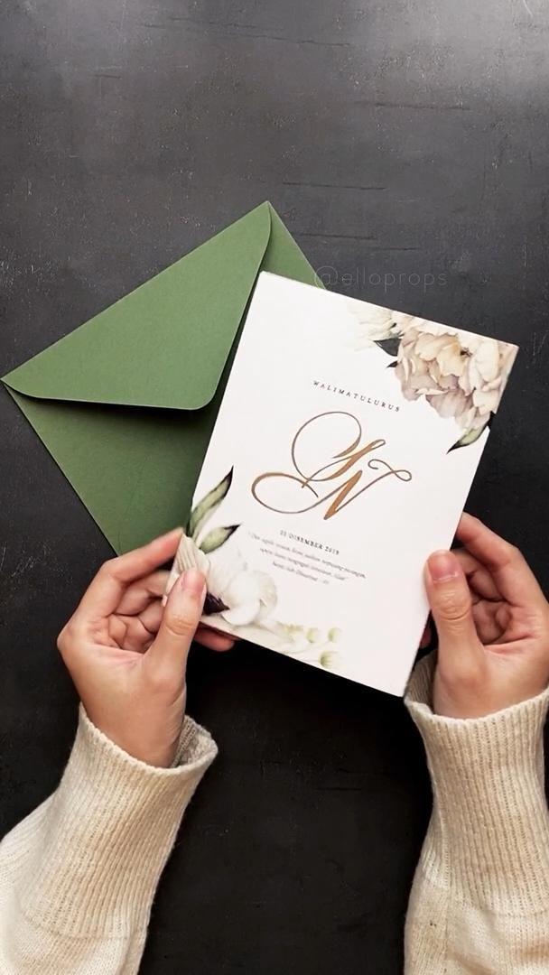 Video Greenery Garden Floral Wedding Invitations Kartu Undangan Pernikahan Tempat Pernikahan Undangan Pernikahan