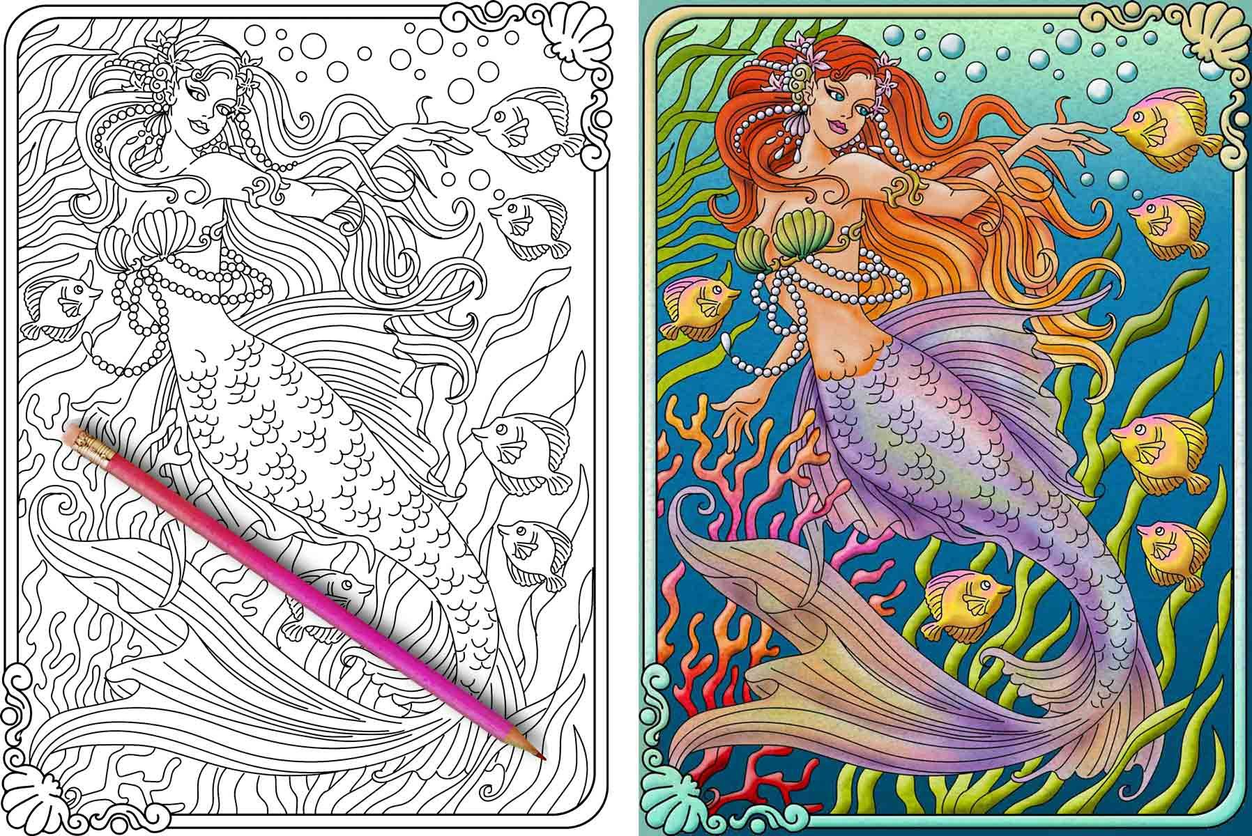 Mermaid Coloring Page Before And After Mermaid Coloring Book Mermaid Coloring Pages Beautiful Mermaids [ 1200 x 1796 Pixel ]