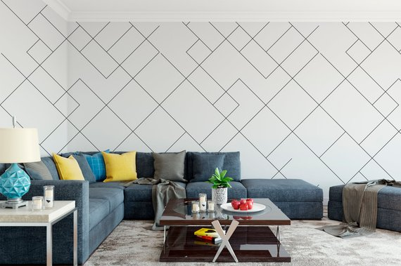 Removable Peel And Stick Wallpaper Geometric Modern Black Lines Wallpaper In 2021 Peel And Stick Wallpaper Home Wallpaper Vinyl Wallpaper