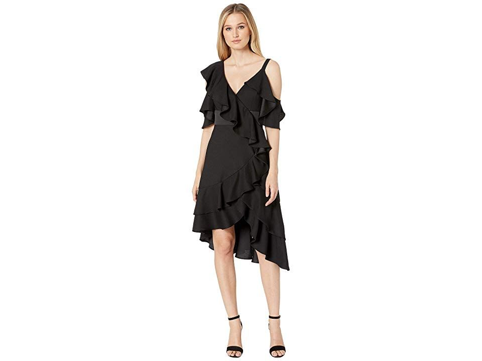 Laundry By Shelli Segal Crepe Back Satin Ruffle Cocktail