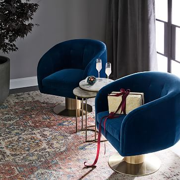 Living Room Ideas · Tufted Pedestal Swivel Chair ...