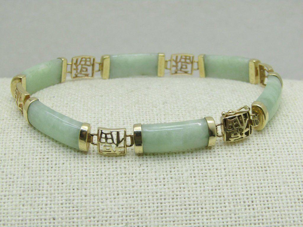 Vintage 14kt Mint Jade Bracelet 7 25 Hong Kong 7mm 35 Tcw Mid Century Jade Bracelet Bracelets Earings Piercings