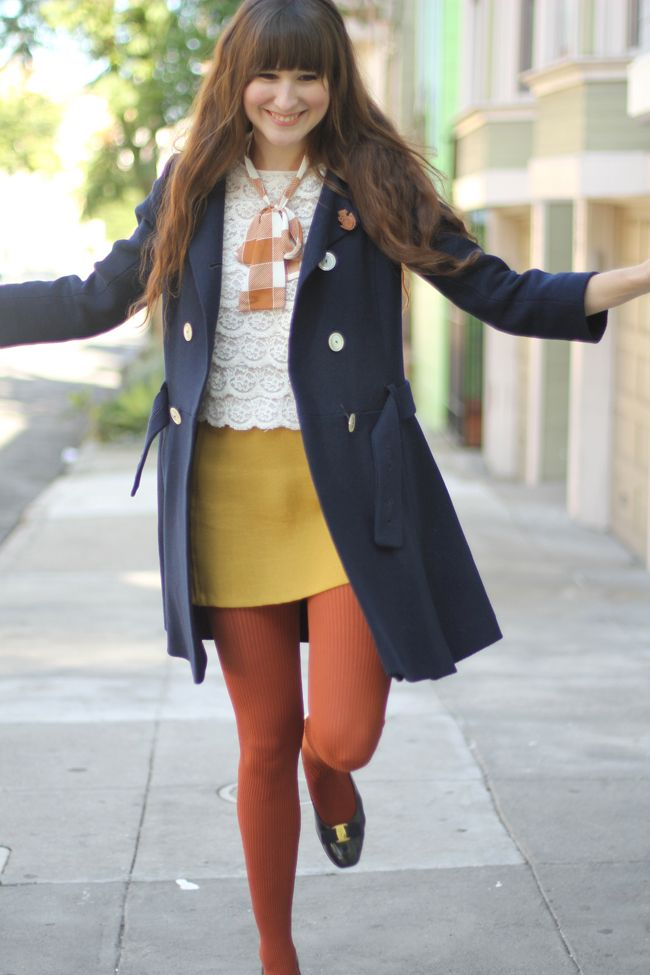 2683896fa25 black flats + rust tights + yellow skirt + white lace top + skinny scarf + navy  coat