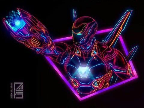 Glow Iron Man Neon Wallpaper