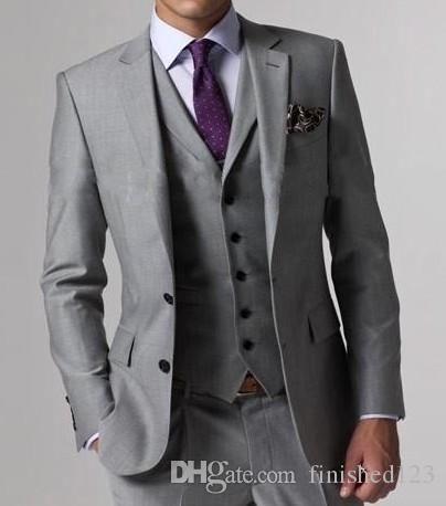 High Quality Light Grey Side Vent Groom Tuxedos Notch Lapel Groomsmen Best Man Mens Wedding Suits Bridegroom (Jacket Pants Vest Tie) D:62 #men'ssuits