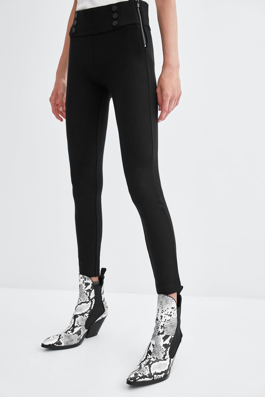 399ce0a6aeeae Image 3 of MID-RISE LEGGINGS WITH BUTTONS from Zara | Zara Wishlist ...