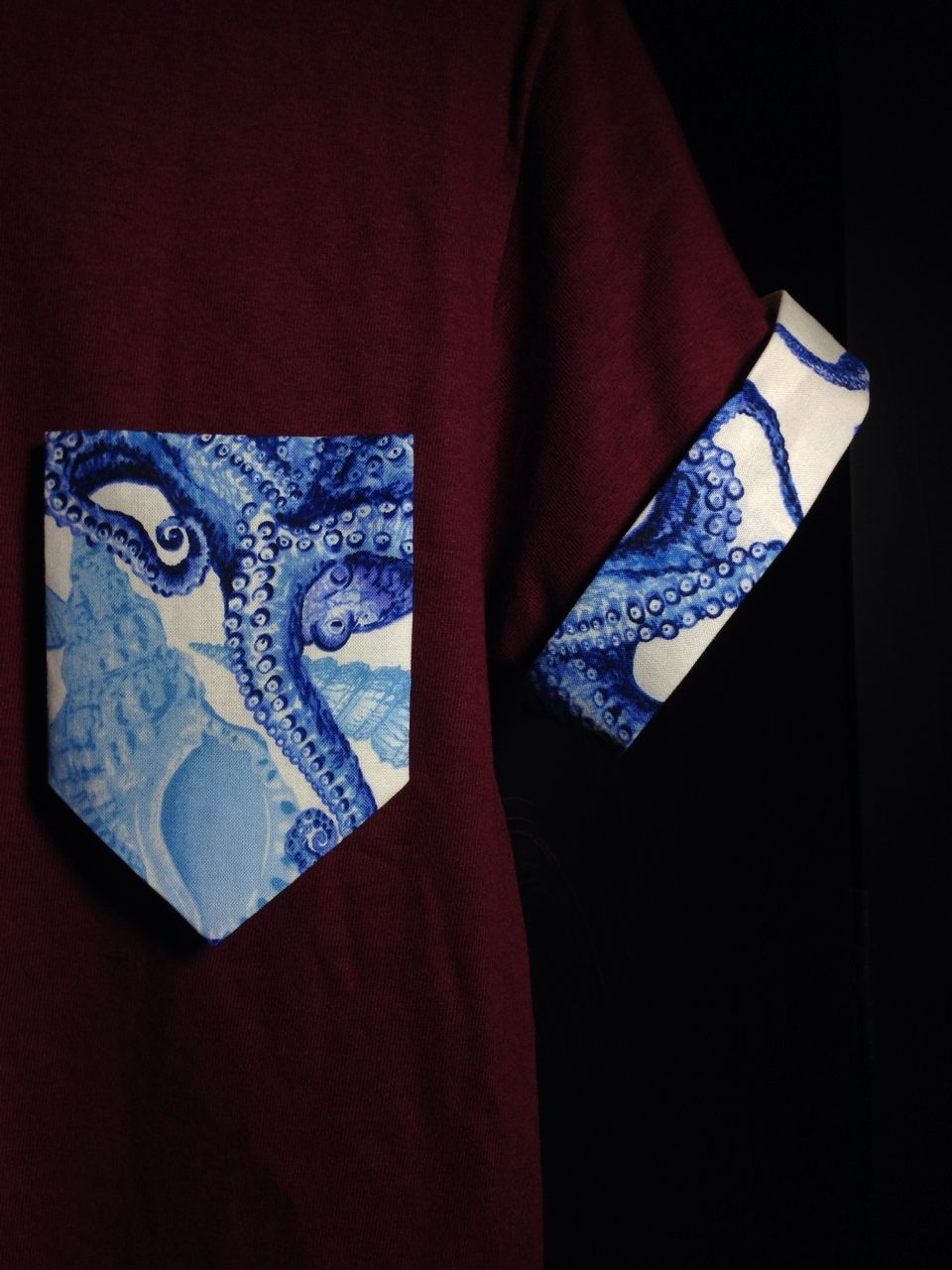 New Octopus print pocket & sleeve cuffs cotton-poly blend double stitch reinforcement sleeve cuffs can flip down and be hidden or worn up to reveal the pattern each shirt/pattern is cut, stitched, and placed by me. **all mens sizes. get yours today! *These shirts are NOT premade. Each...
