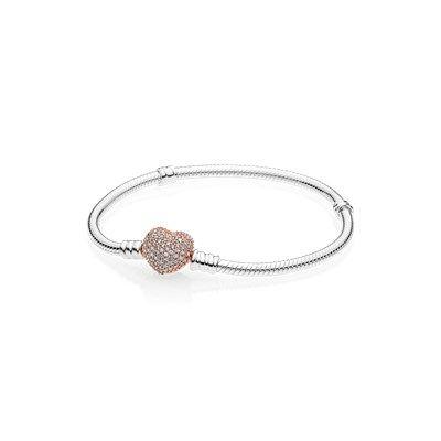 64a8a8dd5e62 Pulsera de plata esterlina con broche de corazón Pavé PANDORA Rose -  586292CZ
