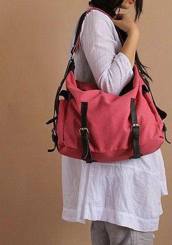 Red Leather-canvas tote  Leather bag Canvas bag  Shopping bag  Stitch bag Shoulder  bag iPad bag.  79.00 8b2fe6c1a0276