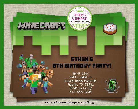 If You Build It, They Will Come! A Minecraft Party Thatu0027s Easy - mine craft invitation template