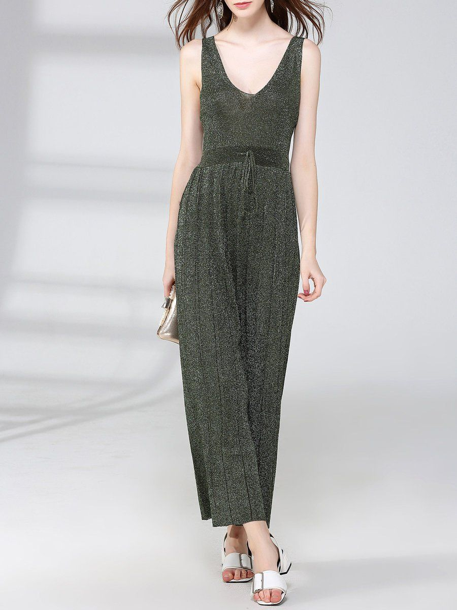 #AdoreWe #StyleWe Jumpsuits - Designer NATURAL HOUSE Cotton-blend H-line Casual Sleeveless Pleated Jumpsuit - AdoreWe.com