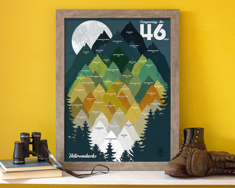 Conquering the 46 • ADK 46ers Print • Adirondacks, NY • Mountain ...