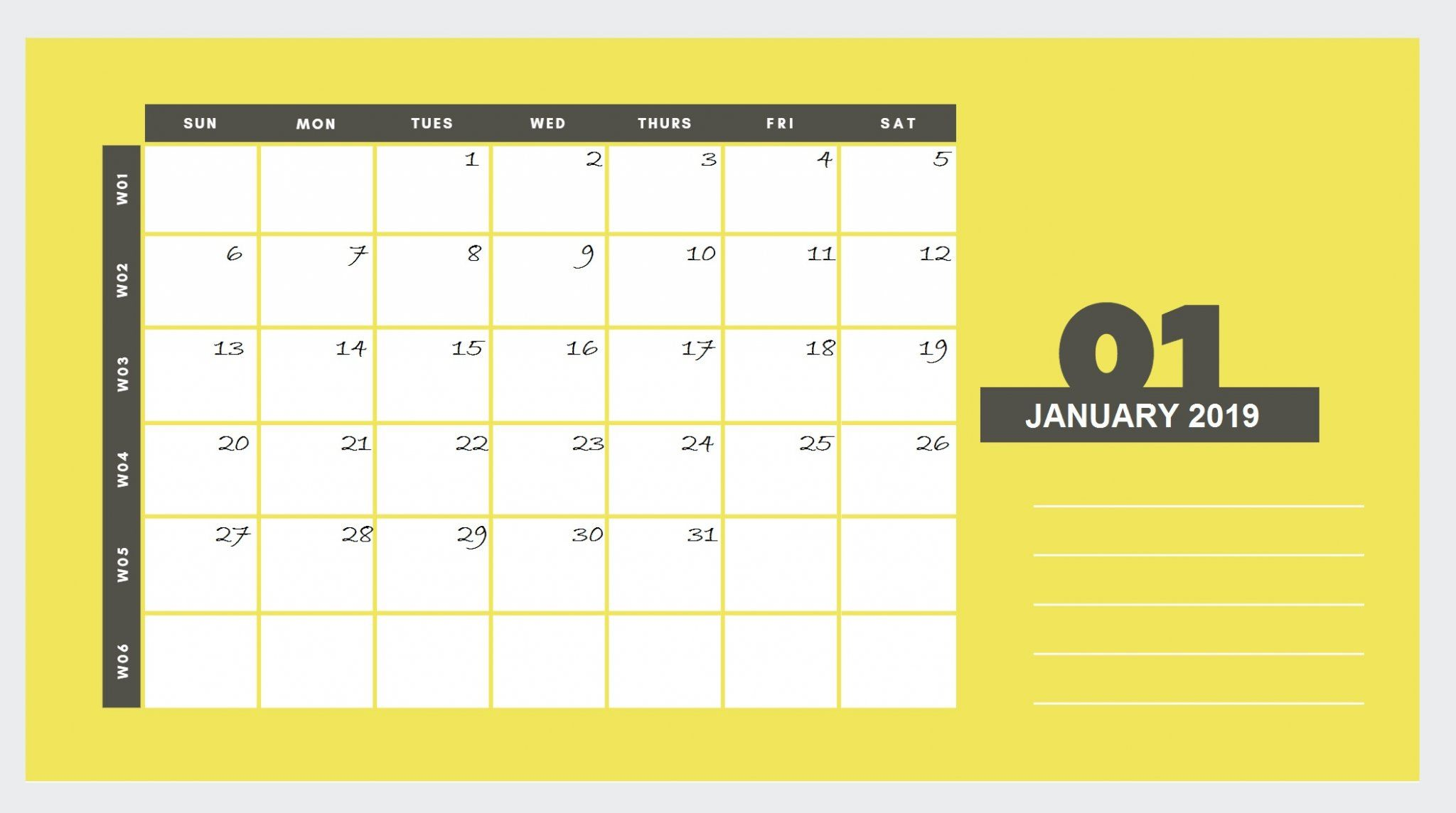 beautiful january 2019 printable calendar template