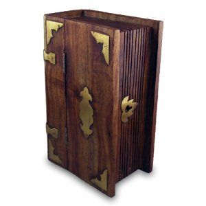 Secret Book Lock Box Small Disguised Wood Boxes Hand Made Wooden