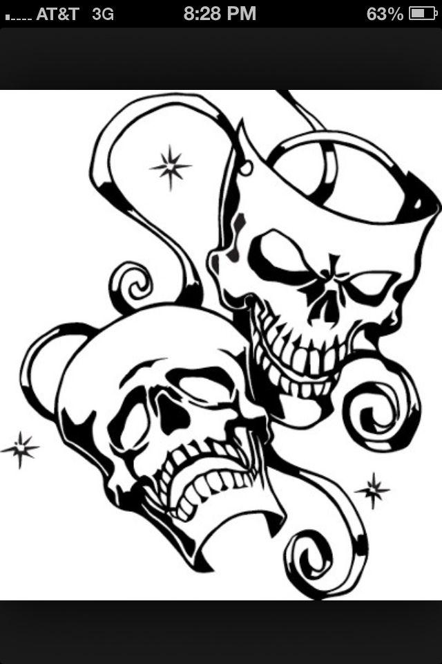 Skull Drama Face Tattoo: Skull Decal, Mask Tattoo, Drama Masks