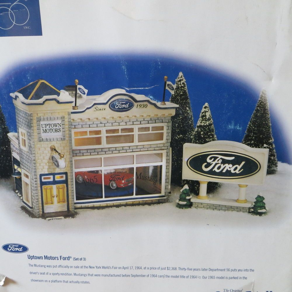 Dept 56 FORD Dealership Uptown Motors Snow Village 1965
