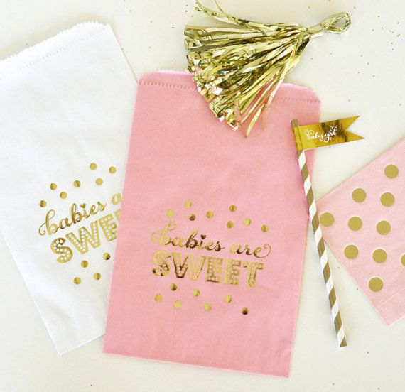Pink Gold Baby Shower Favor Bags Candy By Mailboxhiness