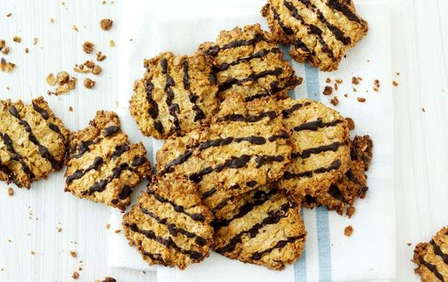Kokoscookies med chokoladetop