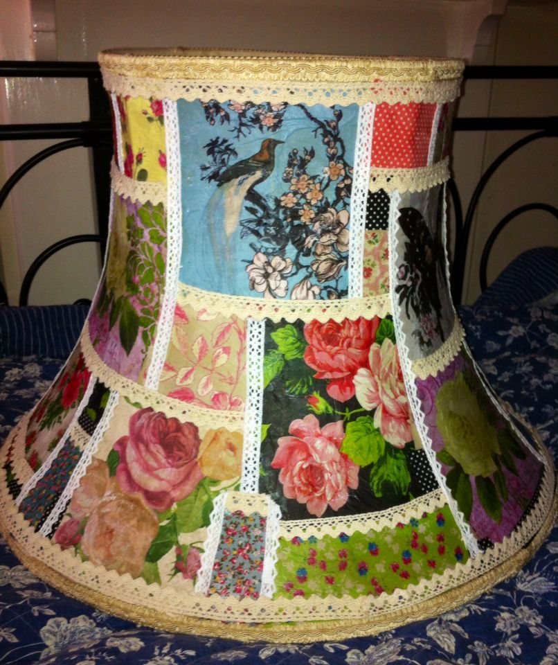 Decoupage lampshade with napkins and trimmed with lace found