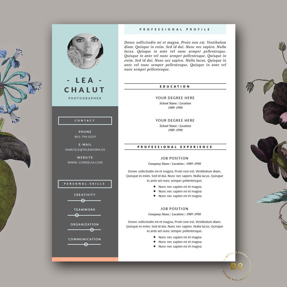 Resume Template Creative Resume Design por BotanicaPaperieShop | CV ...