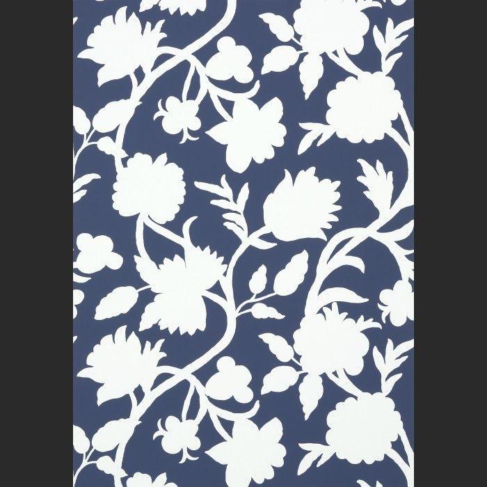 Papiers peints Cabrera - Navy Blanc, Bleu   Color   Marine ...