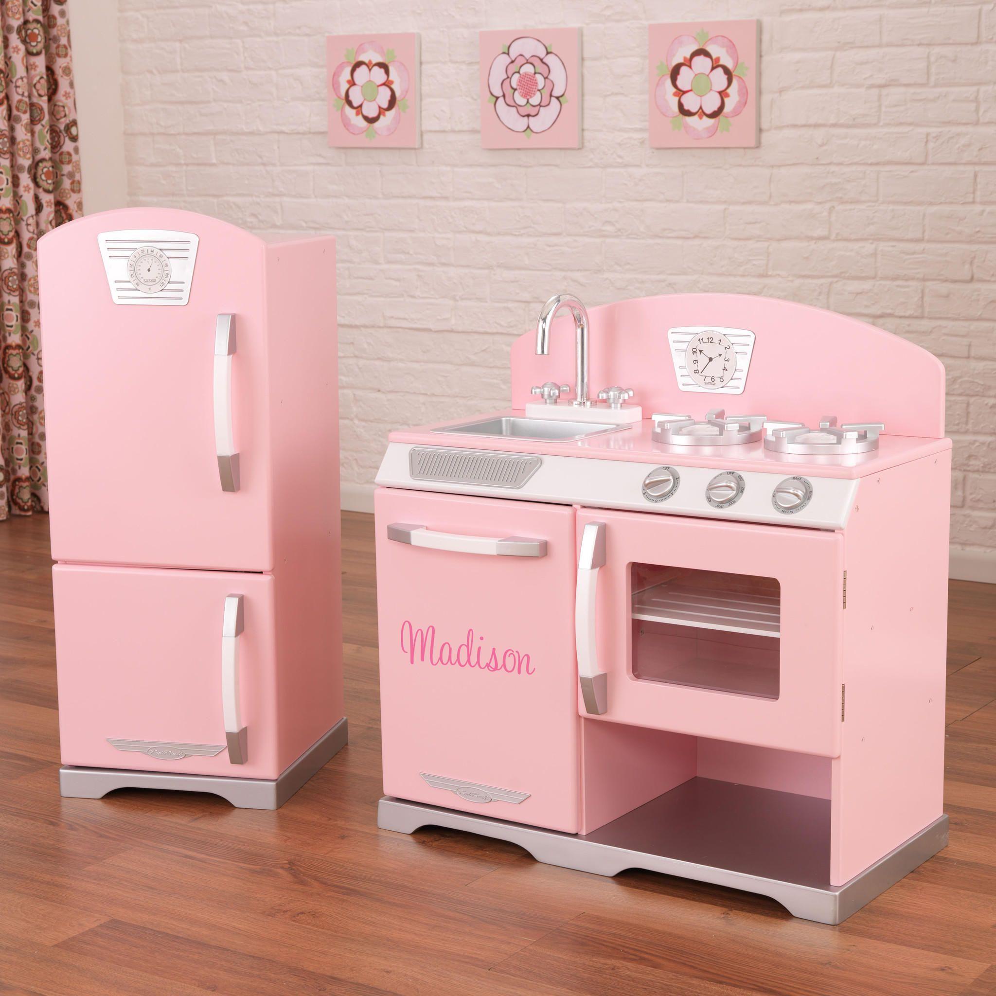 KidKraft Pink Retro Kitchen And Refrigerator From Nurzery - Kidkraft pink retro kitchen and refrigerator 53160