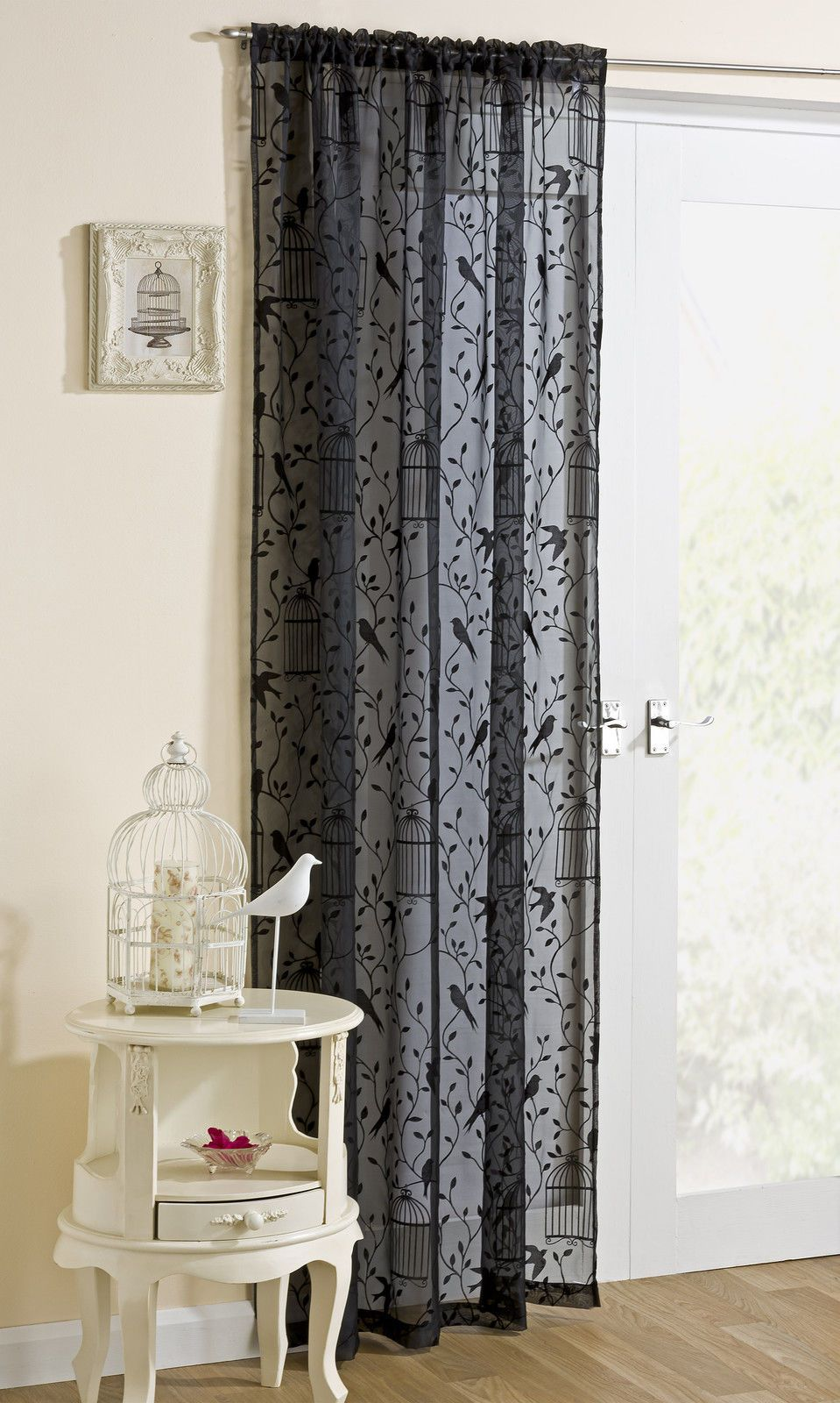 Black Voile Curtains Nightingale Bird Cage Leaves Net Voile Curtain Slot Top Panel
