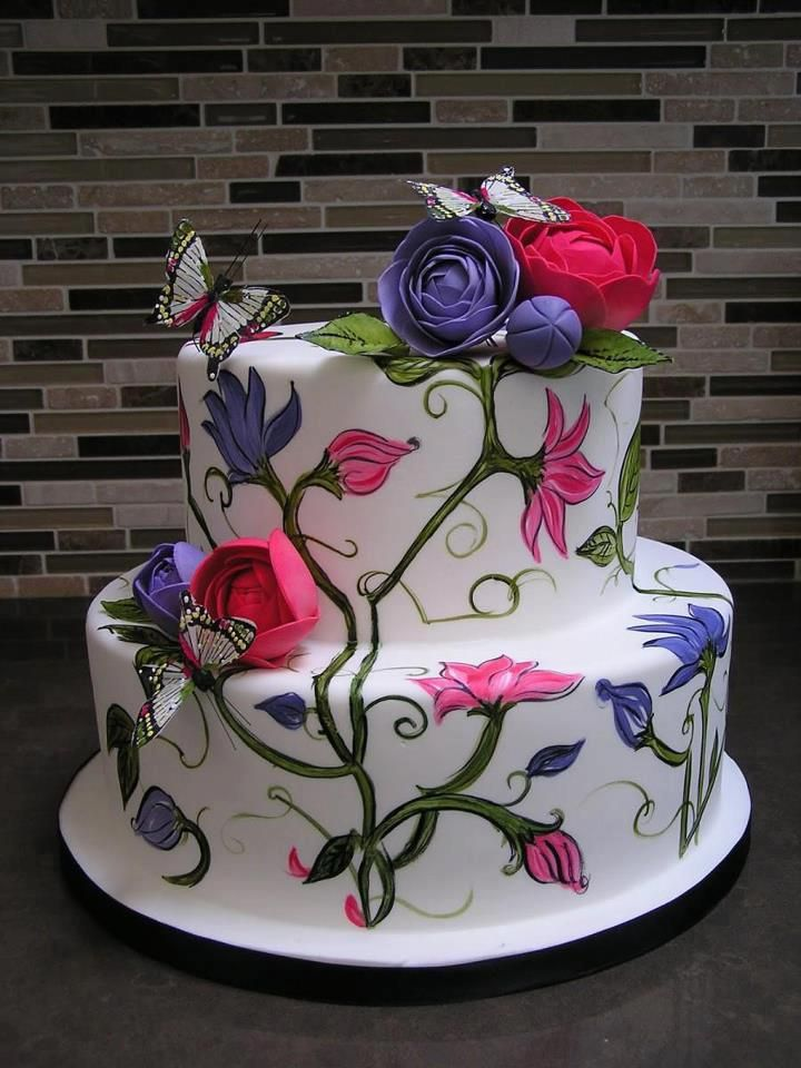 Birthday Cake with Flowers and Butterflies happybirthday